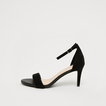 Textured Stilettos with Pin Buckle Closure