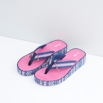 Printed Wedge Flip Flops