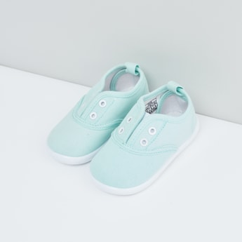 Solid Canvas Shoes with Elasticated Gusset