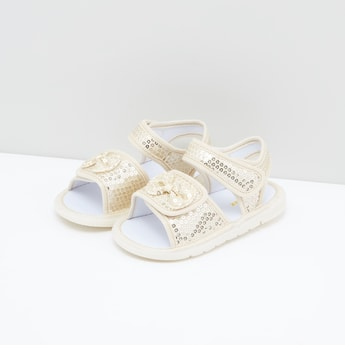 Sequin Detail Sandals with Bow Applique
