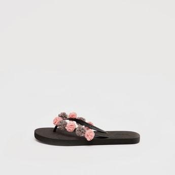 Floral Applique Detail Flip Flops