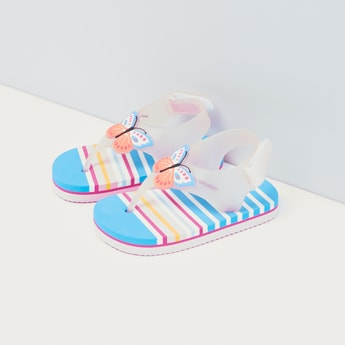 Striped Sandals with Hook and Loop Closure