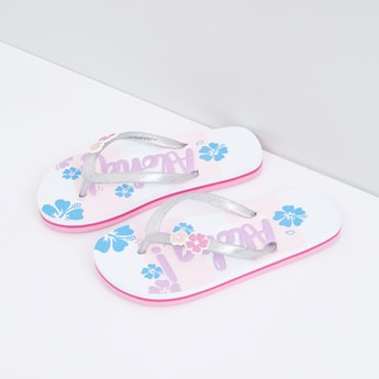 Printed Flip Flops with Flower Applique Detail