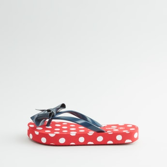 Polka Dot Printed Flip Flops with Bow Applique