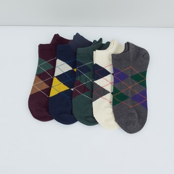 Chequered Ankle Length Socks - Set of 5