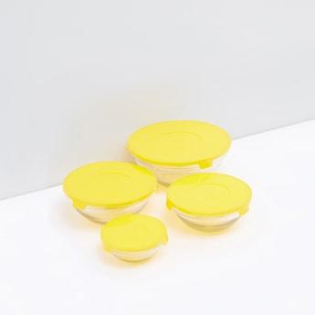 وعاء مستدير شفاف بغطاء - 4 قطع