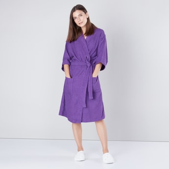 Large Textured Bathrobe with Front Knot Fastening