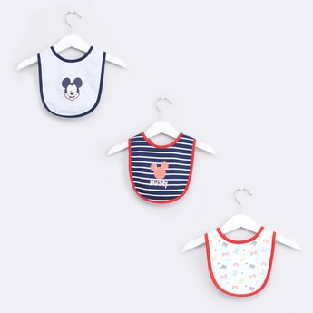 Mickey Mouse Printed Bib with Snap Closure - Set of 3