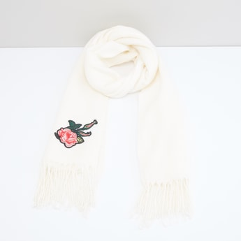 Embroidered Applique Scarf with Fringes