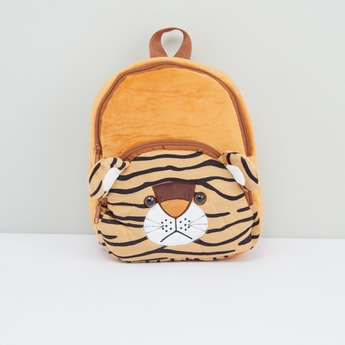 Tiger Applique Detail Plush Backpack with Zip Closure