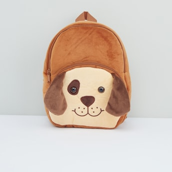 Dog Applique Detail Plush Backpack with Adjustable Shoulder Straps