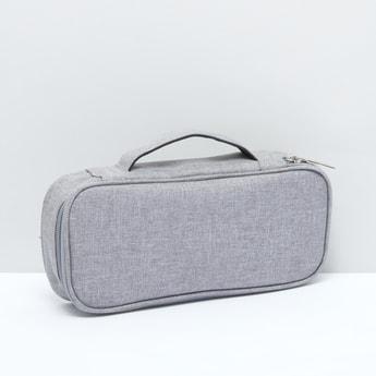 Textured Storage Bag with Zip Closure and Top Handle