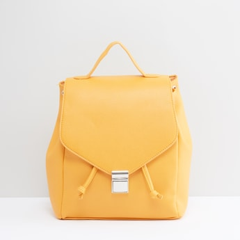 Stitch Detail Backpack with Flap and Drawstring Closure