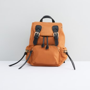Multi-Compartment Backpack with Drawstring Closure