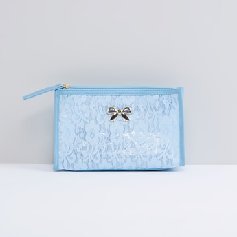 Textured Pouch with Bow Applique and Zip Closure