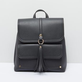 Tassel Detail Backpack with Magnetic Snap Closure