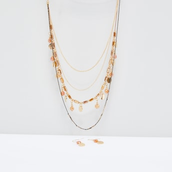 Multilayer Necklace and Earrings Set