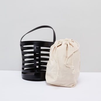 Cutout Detail Crossbody Bag with Detachable Pouch