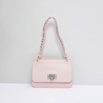 Textured Satchel Bag with Adjustable Strap