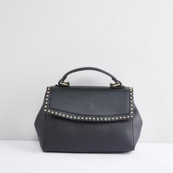 حقيبة يد مرصّعة بطيّة وحزام قابل للفصل