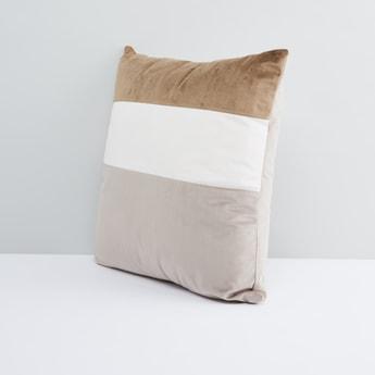 Striped Velvety Square Filled Cushion