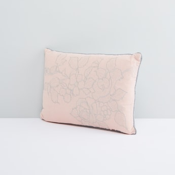 Floral Embroidered Filled Cushion