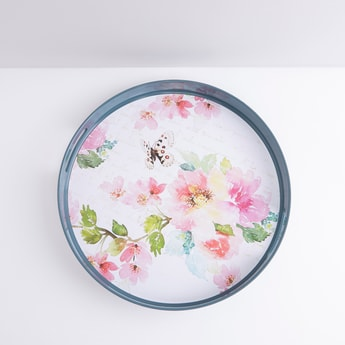 Floral Printed Circular Serving Tray