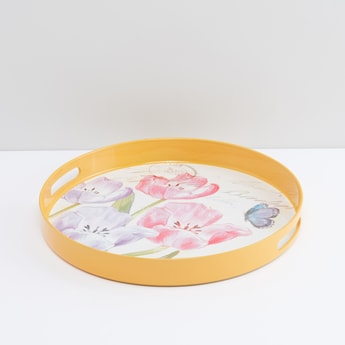 Floral Printed Serving Tray with Cutout Handles