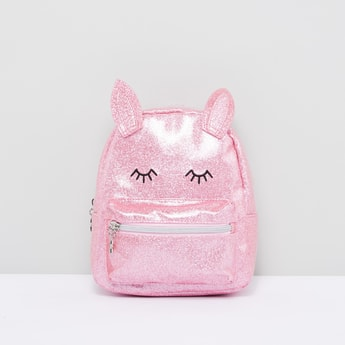 Glitter Backpack with Ear Appliques and Zip Closure