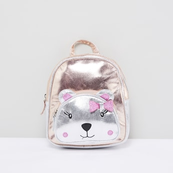 Bear Face Detail Metallic Backpack with Zip Closure