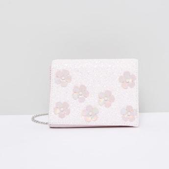Pearl Detail Satchel Bag with Floral Appliques