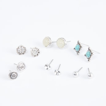 Embellished Studded Earrings - Set of 6