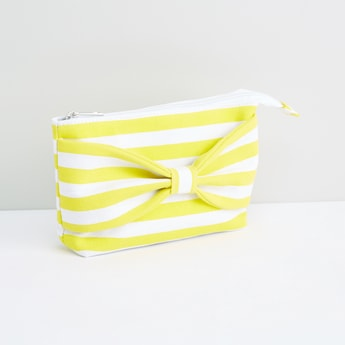 Striped Pouch with Bow Detail and Zip Closure
