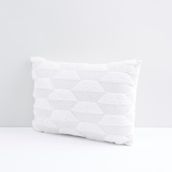 Printed Square Filled Cushion with Plush Detail