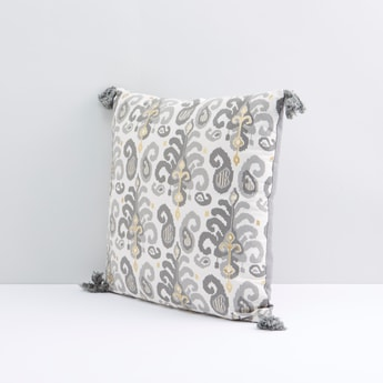 Printed Square Filled Cushion with Tassel Detail