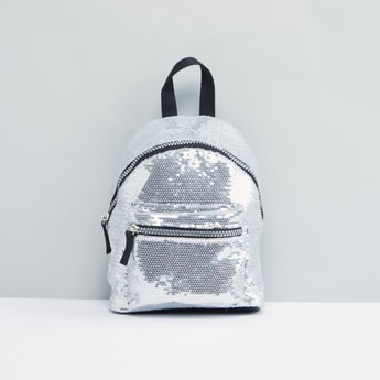 Sequin Detail Backpack with Zip Closure
