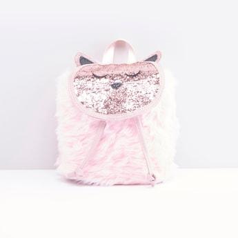 Plush Detailed Glitter Embellished Backpack