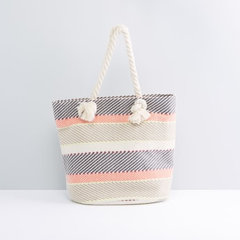 Striped Textured Tote Bag with Rope Handles
