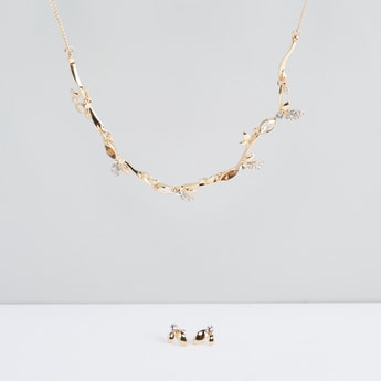 Crystal Studded Necklace and Earrings Set