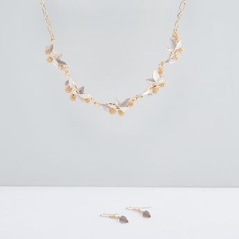 Metallic Necklace and Earrings Set