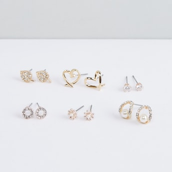 Assorted Metallic Earrings with Pushback Closure - Set of 6