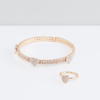 Studded Bracelet and Finger Ring Set