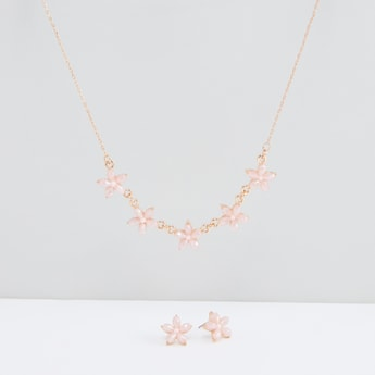 Flower Detail Necklace and Earrings Set