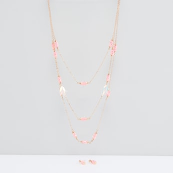 Studded Multilayer Necklace and Earrings Set