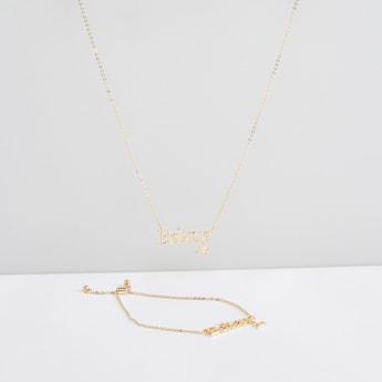 Studded Necklace and Bracelet Set
