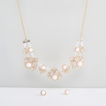 Studded Necklace and Round Earrings Set