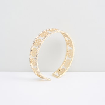 Metallic Open End Cuff Bracelet with Stud Detail