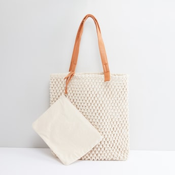 Textured Shopper Bag with Pouch