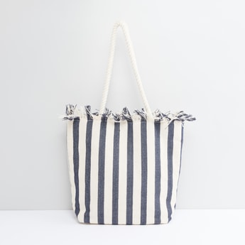 Striped Tote Bag with Metallic Snap Closure