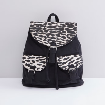 Animal Printed Backpack with Pocket Detail and Adjustable Straps
